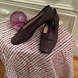 Etienne Aigner purple loafers.